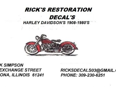 DECALS – HARLEY DAVIDSON & OTHER MAKES AVAILABLE